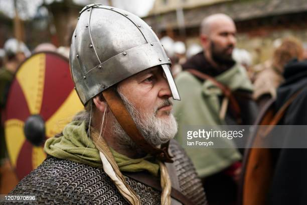 Viking reenactors prepare to march through York as part of the 36th York Viking Festival on February 22 2020 in York England The march was the...