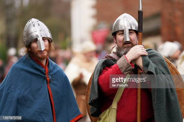 Viking reenactors prepare to march through York during a living history display as part of the 36th York Viking Festival on February 22 2020 in York...
