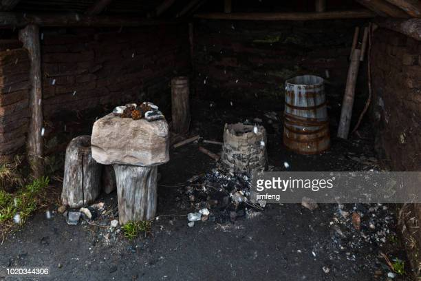 viking settlement - longhouse stock photos and pictures