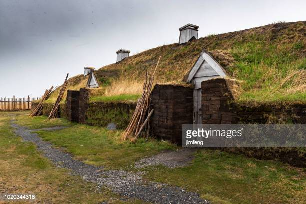 viking settlement - newfoundland and labrador stock pictures, royalty-free photos & images