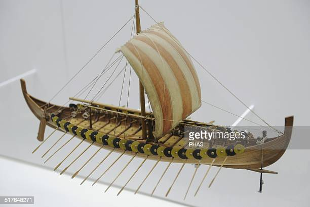 Viking Ship Gokstad Ship approx 900 AD Was found in a burial place nera Gokstad Norway Replica Scale 150 Deutches Museum Munich Germany