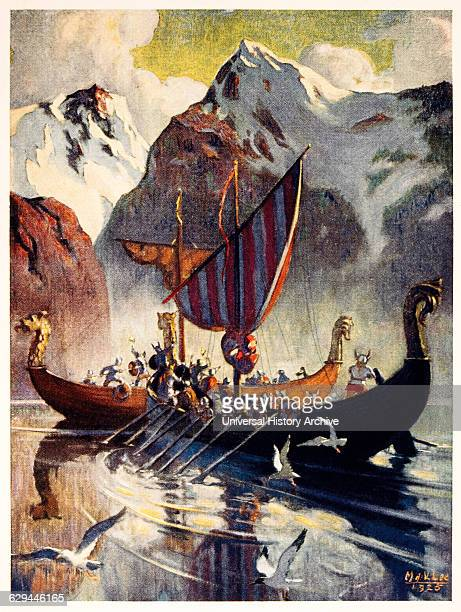 Viking Ship in Fjord Lithograph 1925 after Painting by Manning de V Lee