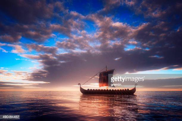 Viking ship sailing towards unknown land