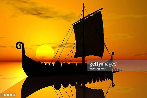Viking ship, sunset, silhouette, 3D graphics