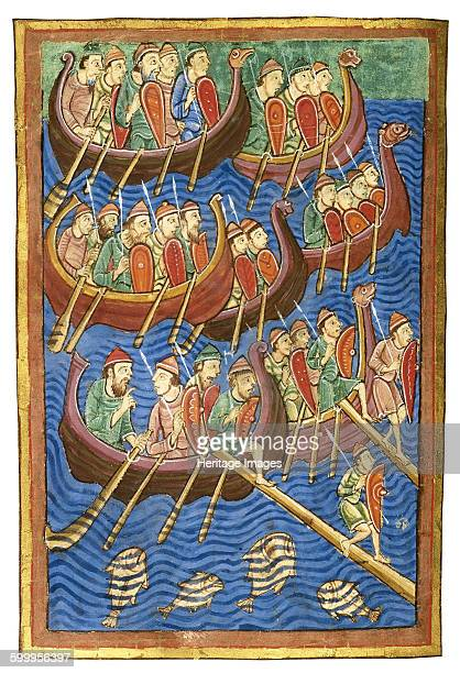 Viking ships arriving in Britain ca 1130 Found in the collection of Pierpont Morgan Library Artist Abbo of Fleury