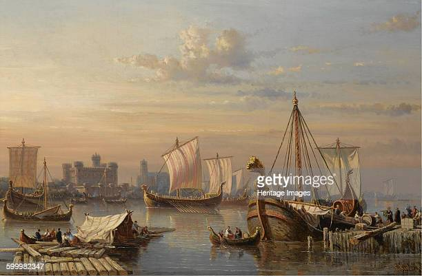 Viking ships on the River Thames Mid of the 19th century Private Collection Artist Koster Everhardus