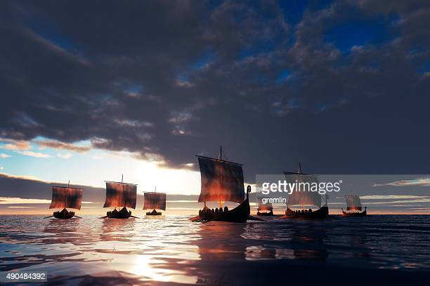 viking ships sailing towards unknown land - viking stock photos and pictures