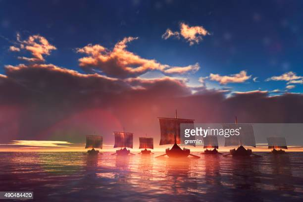 Viking ships sailing towards unknown land
