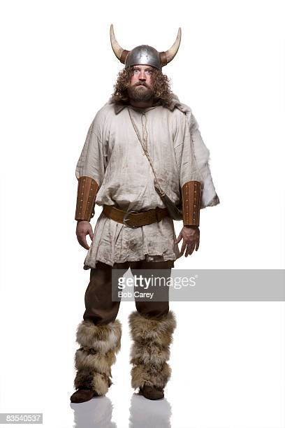 viking staring on white background. - viking stock photos and pictures