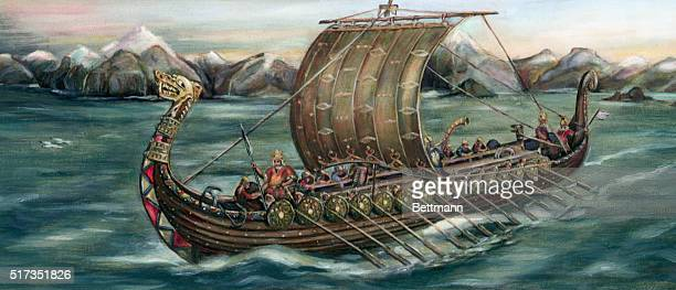 Viking trading ship of the 8th century leaving on an expedition from Dawn Ladir Cliffs, Norway.