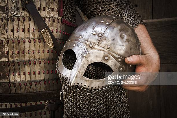 Viking warrior detail of the helmet with an aventail to protect the face and shoulders 10th century Historical reenactment