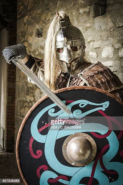 Viking warrior with helmet brigantina gambeson shield and sword Scandinavia 10th century Historical reenactment