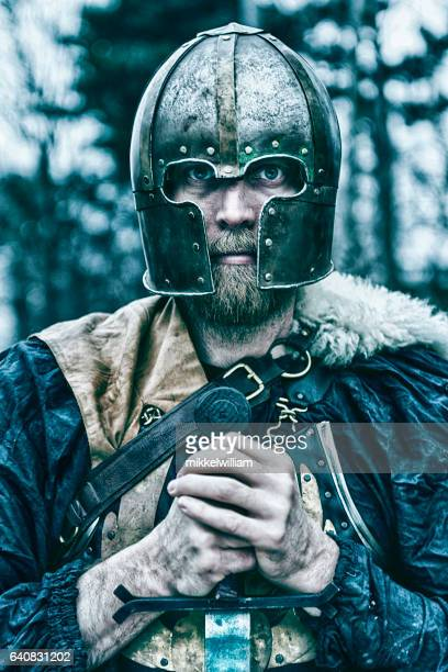 Viking warrior with helmet holds sword