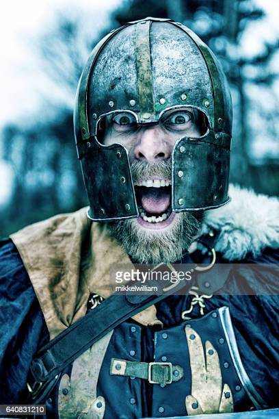 Viking warrior with helmet screams