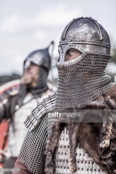 viking warriors outdoors leading a scouting mission - historical reenactment stock pictures, royalty-free photos & images