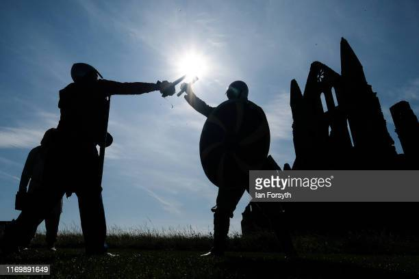 Viking warriors practice their techniques during the Viking Festival at Whitby Abbey on August 24 2019 in Whitby England Temperatures are expected to...