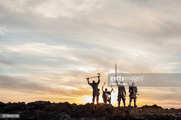 vikings cheering victory on cliffs of palos verdes, california, usa - historical reenactment stock pictures, royalty-free photos & images