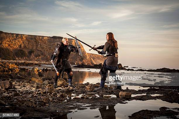 Vikings fighting on cliffs of Palos Verdes, California, USA