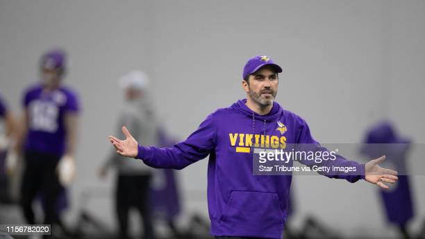 Vikings interim offensive coordinator Kevin Stefanski during practice at Twin Cities Orthopedics Center Thursday December 13 2018 in Eagan MN] Jerry...