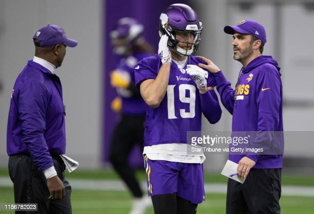 Vikings interim offensive coordinator Kevin Stefanski gave instructions to Adam Thielen during practice at Twin Cities Orthopedics Center Thursday...