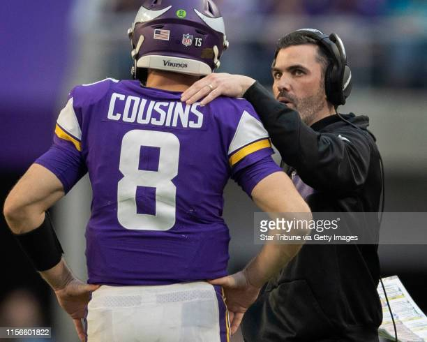 Vikings interim offensive coordinators Kevin Stefanski talked with Kirk Cousins in the forth quarter at US Bank Stadium Sunday December 16 2018 in...