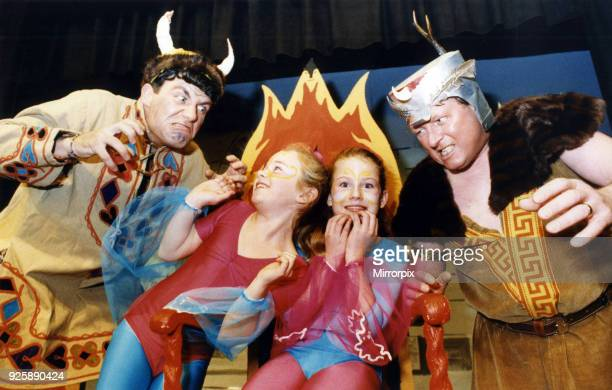 Vikings Martin Colman and Brian Higgns succeed in frightening fairies Dawn Moore and Emma Davies during rehearsals for their pantomime 'Alfred and...