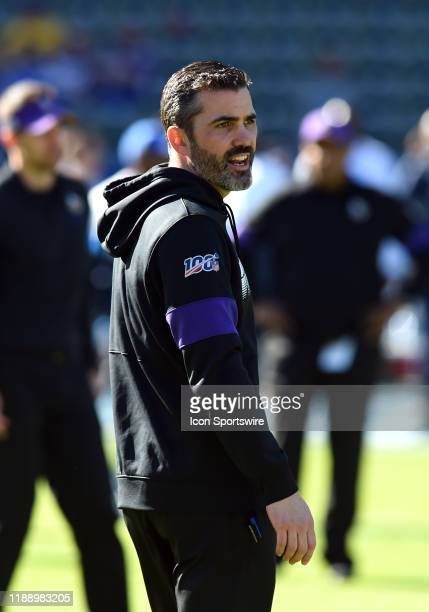 Vikings offensive coordinator Kevin Stefanski during an NFL game between the Minnesota Vikings and the Los Angeles Chargers on December 15 at Dignity...