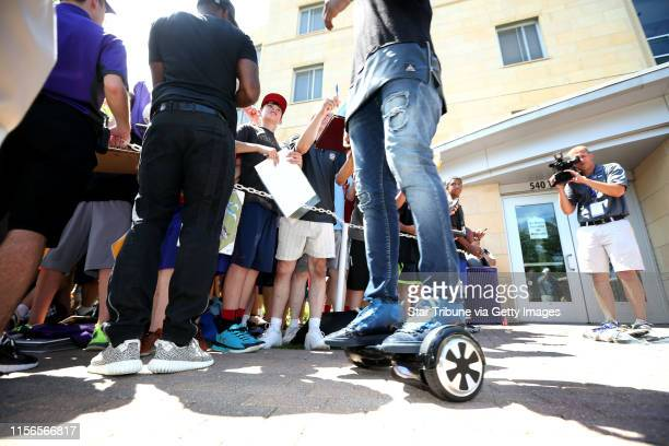 Vikings receiver Cordarrelle rides his phunkeeduck ,a self balancing scooters, as he arrived at Minnesota State University for Vikings training camp...