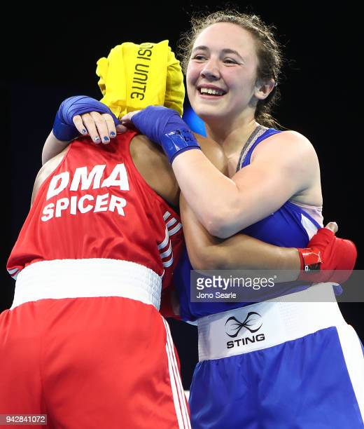 Vikki Glover of Scotland celebrates winning her round of 16 bout against Valerian Spicer of Dominica on day three of the Gold Coast 2018 Commonwealth...