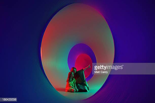 Vikki Strode and sixyearold Eva Norris visit Colourscape on the front lawn of Holburne Museum on August 17 2012 in Bath England Billed as the...