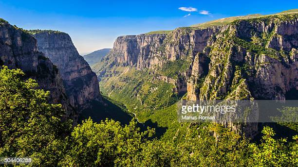 vikos gorge in zagoria region, pindos mountains, epirus, greece. - epirus greece stock pictures, royalty-free photos & images