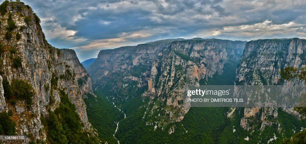 Vikos Gorge panorama : Stock Photo