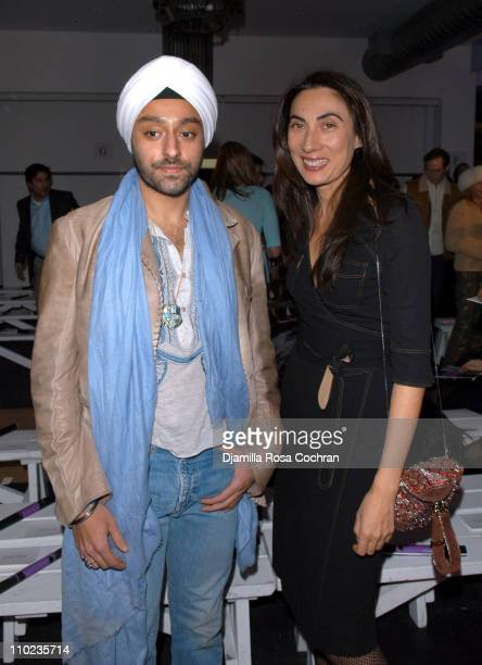 Vikram Chatwell and Anh Duong during Olympus Fashion Week Fall 2005 Diane Von Furstenberg Backstage and Front Row at 389 West 12th Str in New York...