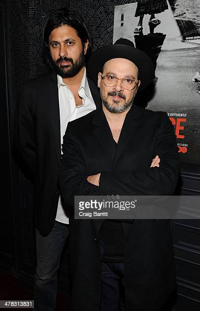 Vikram Gandhi and Eddy Moretti attend the Vice season two premiere at SVA Theater on March 12 2014 in New York City