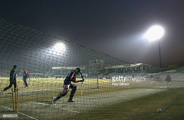 Vikram Solanki of England hits out during an England nets session at the Rawalpindi Cricket Stadium during the England Cricket Team winter tour on...