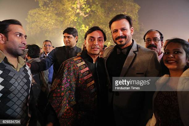 Vikrum Baidyanath with Bollywood actor Vivek Oberoi at the wedding reception of Union Minister Nitin Gadkari's daughter Ketki and Aditya Kaskhedikar...