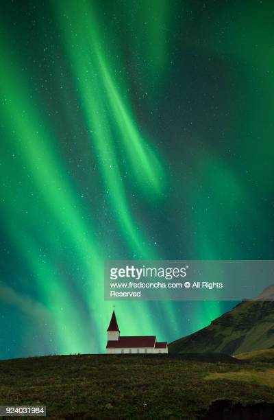 Vik's Church with a beautiful northern light