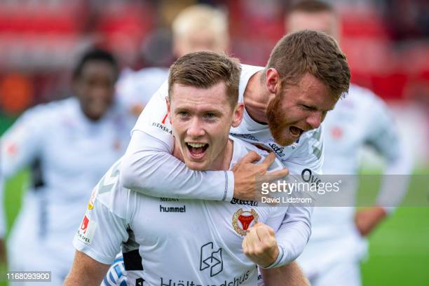 Viktor Agardius of Kalmar FF celebrates after the Allsvenskan match between Ostersunds FK and Kalmar FF at Jamtkraft Arena on September 14, 2019 in...