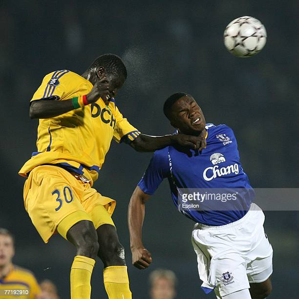 Viktor Anichebe of FC Everton fights for the ball with Papa Gueye of FC Metalist during the UEFA Cup 1st Round 2nd Leg match between Metalist Kharkiv...