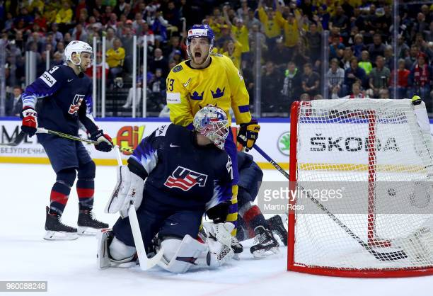 Viktor Arvidsson of Sweden celebrates after he scores the opening goal during the 2018 IIHF Ice Hockey World Championship Semi Final game between...