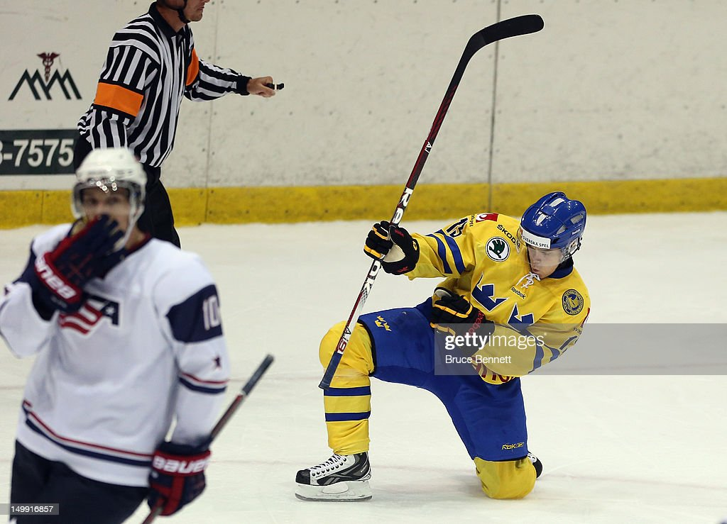 USA Hockey Junior Evaluation Camp - USA White v Sweden : News Photo