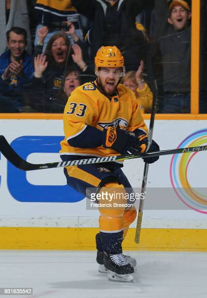Viktor Arvidsson of the Nashville Predators celebrates after scoring a goal against the Winnipeg Jets during the first period at Bridgestone Arena on...