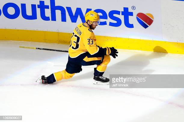 Viktor Arvidsson of the Nashville Predators celebrates his goal in the third period Arizona Coyotes in Game Two of the Western Conference...