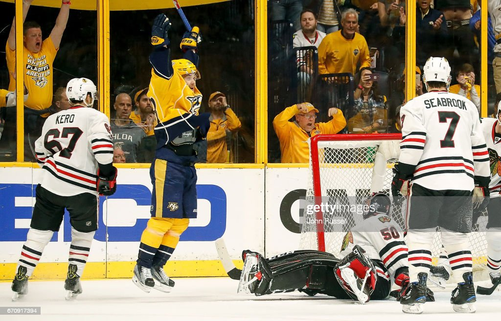 Viktor Arvidsson #38 of the Nashville Predators celebrates his goal against Corey Crawford #50 of the Chicago Blackhawks in Game Four of the Western Conference First Round during the 2017 NHL Stanley Cup Playoffs at Bridgestone Arena on April 20, 2017 in Nashville, Tennessee.