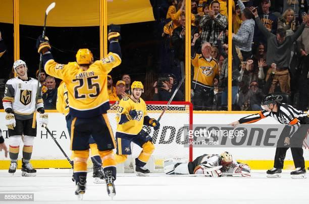 Viktor Arvidsson of the Nashville Predators celebrates his goal against Malcolm Subban of the Vegas Golden Knights during an NHL game at Bridgestone...
