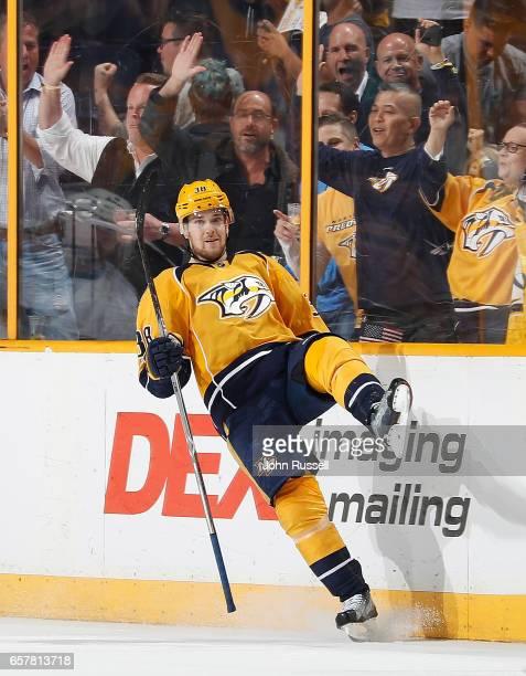 Viktor Arvidsson of the Nashville Predators celebrates his shorthanded goal against the San Jose Sharks during an NHL game at Bridgestone Arena on...