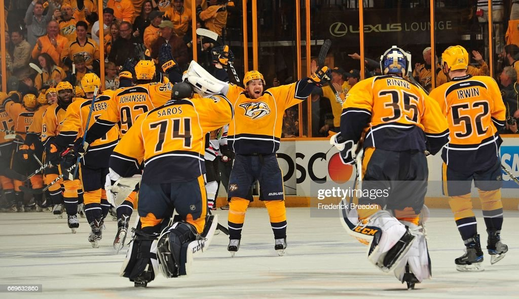 Viktor Arvidsson #38 of the Nashville Predators celebrates with teammates after a 3-2 overtime victory over the Chicago Blackhawks in Game Three of the Western Conference First Round during the 2017 NHL Stanley Cup Playoffs at Bridgestone Arena on April 17, 2017 in Nashville, Tennessee.
