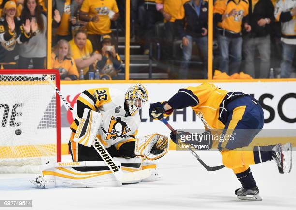 Viktor Arvidsson of the Nashville Predators scores a goal on goaltender Matt Murray of the Pittsburgh Penguins during the second period of Game Four...