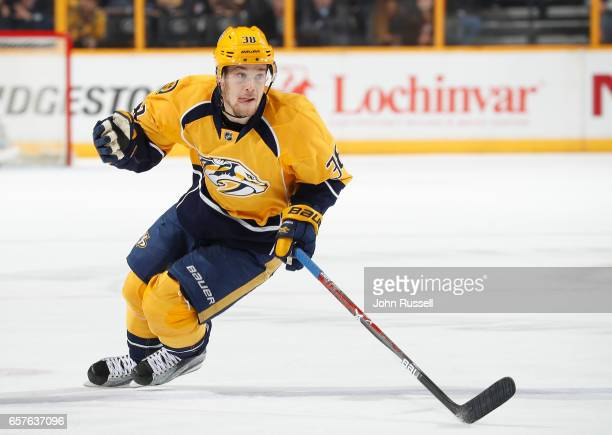Viktor Arvidsson of the Nashville Predators skates against the Arizona Coyotes during an NHL game at Bridgestone Arena on March 20 2017 in Nashville...