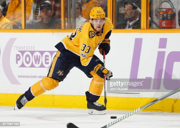 Viktor Arvidsson of the Nashville Predators skates against the Colorado Avalanche during an NHL game at Bridgestone Arena on November 18 2017 in...